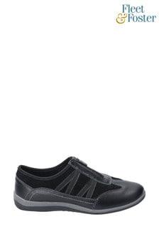 Fleet & Foster Black Mombassa Leather Slip-On Shoes