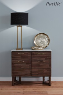 Langston Satin Brass Metal Four Post Table Lamp by Pacific Lifestyle