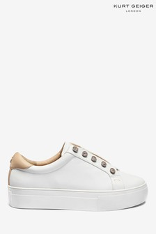 Kurt Geiger Ladies White Liviah Leather Trainers
