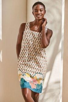 Teal Floral Print Linen Blend Square Neck Dress