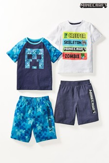Blue 2 Pack Minecraft Short Pyjamas (3-12yrs)