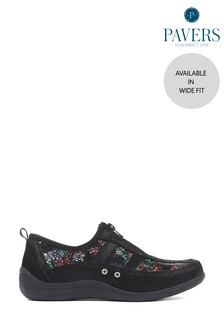 Pavers Black Floral Leather Ladies Wide Fit Trainers