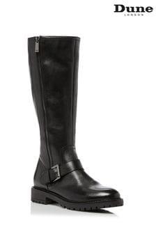 Dune London Trafalgar T Black Buckle Strap Mid Calf Boots