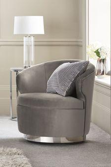 Opulent Velvet Steel Elinore Chrome Swivel Base Accent Chair