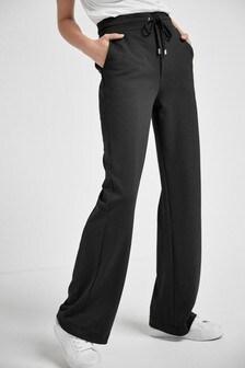 Black Jersey Wide Leg Trousers