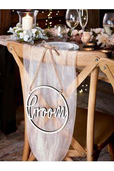 Light Natural Wooden Groom Wedding Chair Sign