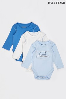 River Island Blue Boys Multipack Basic Babygrow