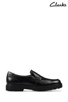 Clarks Black Leather Loxham Grove Youths Shoes