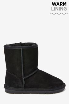 Black Warm Lined Water Repellent Suede Pull-On Boots