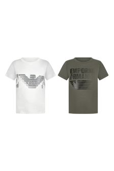 Boys White/Khaki Cotton Logo T-Shirts Two Pack