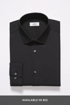 Black Regular Fit Single Cuff Easy Care Shirt