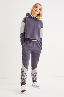 Charcoal Grey Animal Hoodie And Sports Leggings Set (3-16yrs)