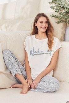 Ecru Wake Up Cotton Pyjamas