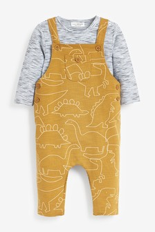 Ochre Dinosaur Jersey Dungaree And Bodysuit Set (0mths-2yrs)