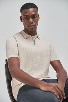 Stone Cotton Short Sleeve Zip Polo Top