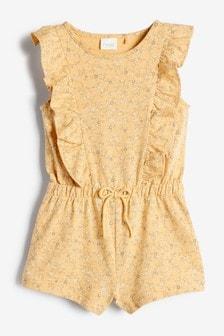 Yellow Organic Cotton Short Playsuit (3mths-7yrs)