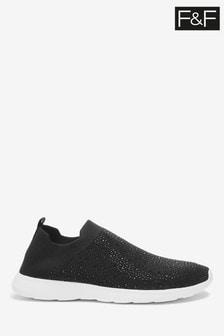 F&F Black Heatseal Slippers