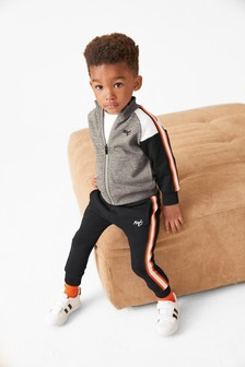 Grey Jersey Funnel Neck Zip Through And Joggers Set (3mths-7yrs)