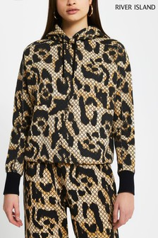 River Island Brown Light RI Leopard Monogram Hoody