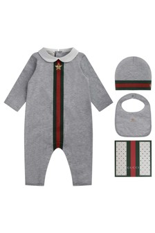 Baby Boys Romper - Grey 100% Cotton 3 Piece Gift Set