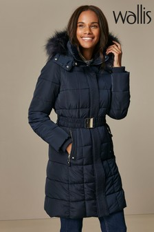 Wallis Navy Faux Fur Collar Quilted Coat