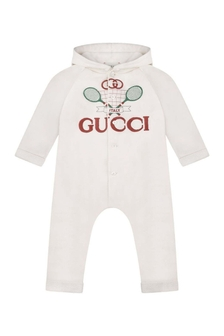 Baby Boys Ivory Cotton Coverall
