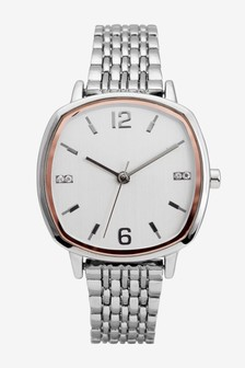 Silver Tone Square Case Bracelet Watch