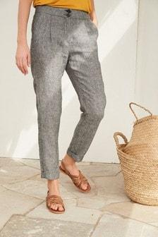 Grey 100% Linen Taper Trousers