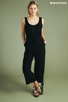 Whistles Black Quinn Casual Jumpsuit