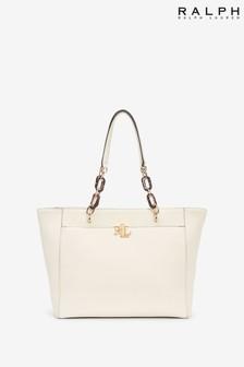 Ralph Lauren White Leather Monogram Logo Langdon Tote Bag
