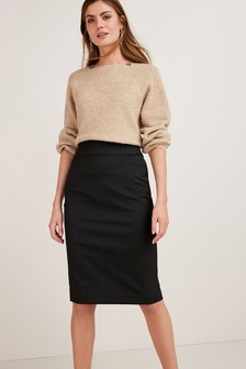 Black Tailored Fit Pencil Skirt