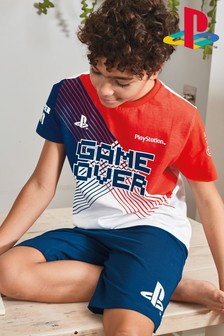 Red/Navy/White PlayStation™ Short Pyjamas (3-16yrs)
