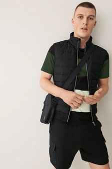 Black Quilted Gilet With Jersey Back