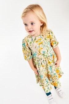 Ecru/Yellow Floral Tier Ponte Dress (3mths-7yrs)