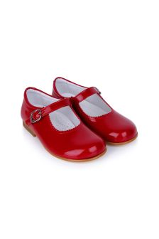 Andanines Girls Patent Red Scalloped Edge Mary Jane Shoes