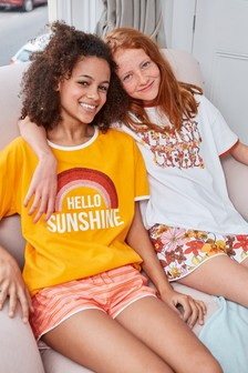 Orange 2 Pack Retro Short Pyjamas (2-16yrs)