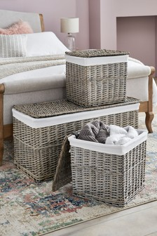 Set of 3 Willow Ottoman And Cube Storage