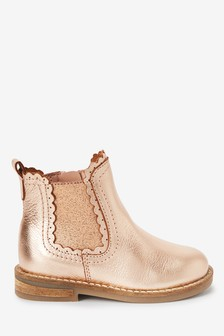 Rose Gold Premium Leather Chelsea Scallop Boots (Younger)