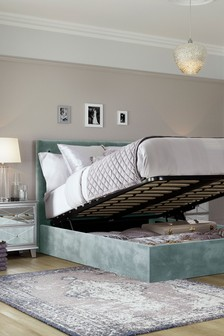 Opulent Velvet Jade Paris Ottoman Storage Bed