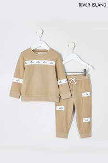 River Island Stone Light Textured Taped Sweat Set