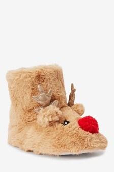 Tan Reindeer Slipper Boots (Older)