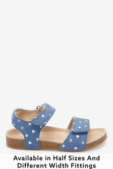 Blue Leather Heart Print Wide Fit (G) Sandals (Younger)