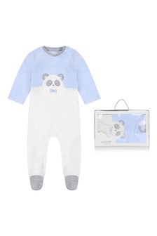 Boys Blue/White Cotton Babygrow