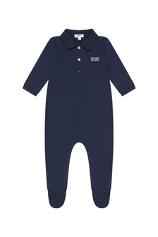 Baby Boys Navy Cotton Babygrow
