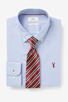 Blue Slim Fit Single Cuff Shirt And Stripe Tie Set