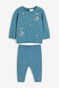 Teal Embroidered Knitted Set (0mths-2yrs)