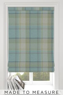 Check Teal Green Made To Measure Roman Blind