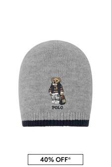 Boys Grey Wool & Cotton Bear Hat