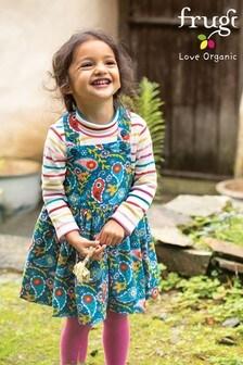 Frugi GOTS Organic Cord Pinafore Dress - Teal Paisley