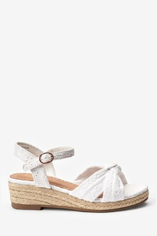 White Broderie Knot Wedge Sandals